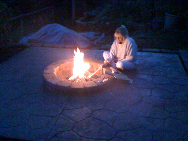 Person at firepit